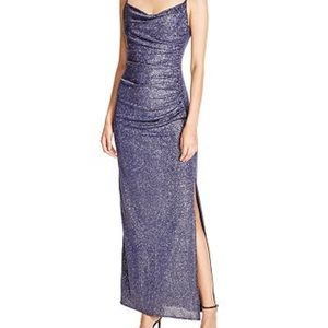 Laundry by Shelli Segal Metallic Ruched Gown